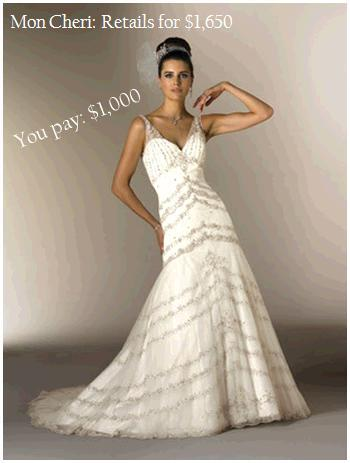 Stunning white and platinum Mon Cheri wedding dress with trumpet skirt