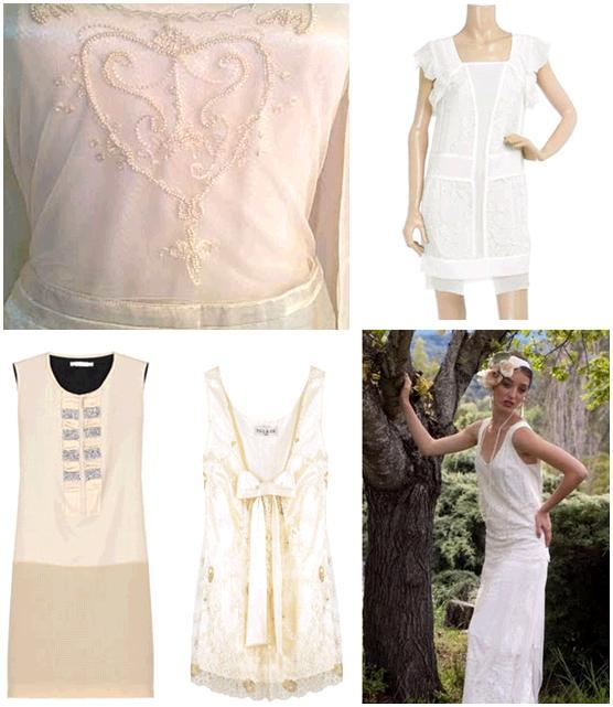 Stunning updated versions of the chemise or sheath wedding dress- intricate beading, white, ivory, s