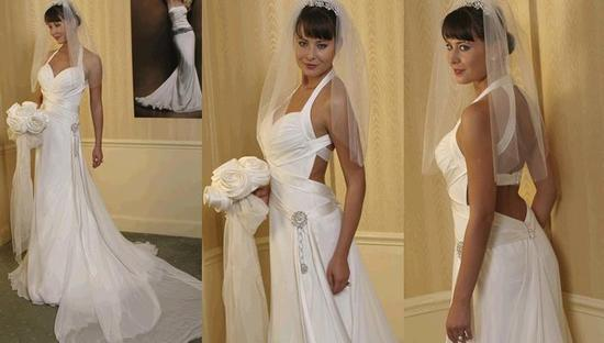 Stunning Swoon wedding dress from Amy Michelson- white satin with rhinestone detail on hip