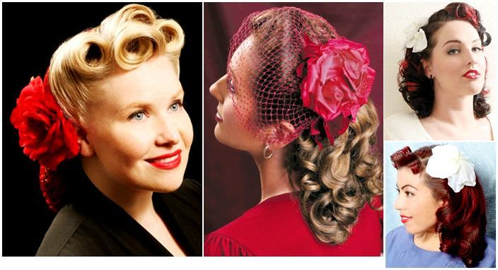 Vintage-inspired bridal hairstyles and accessories- oversized red flower, birdcage veil, flower in h
