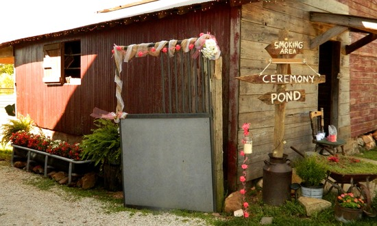 Floral displays around corn crib at Civil War Ranch