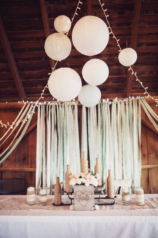 Head table setting on second floor of the Wedding Barn at Civil War Ranch. Photo by Sweet Tea Photography