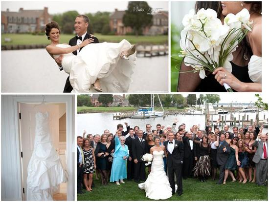 Stunning white orchid bridal bouquet; white strapless wedding dress hangs in door; all wedding guest