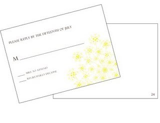 This response card with yellow flowers has the guest number discretely written on the back.