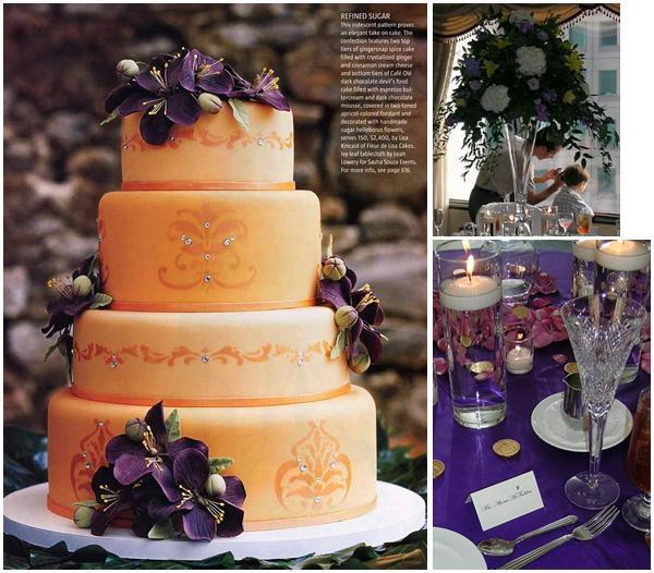 Peachy Orange Wedding Cake With Purple And Plum Flowers Perfect For An Autumn