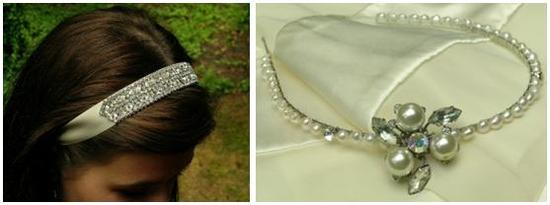 Stunning rhinestone headband on ivory ribbon; pearl headband with pearl and rhinestone brooch