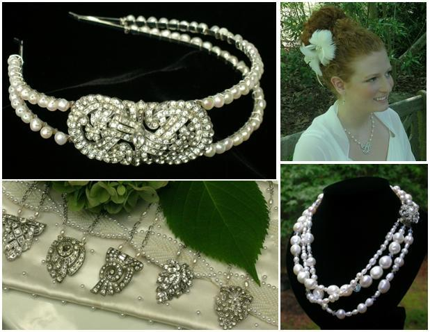 Gorgeous pearl, rhinestone, and feather vintage-inspired bridal hair accessories and jewelry