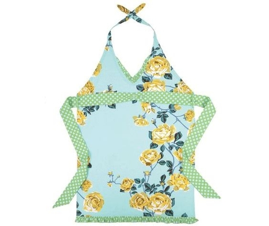 Sky blue, aqua, teal and creamy gold rose patterned apron- Pink, sky blue and red floral half apron-