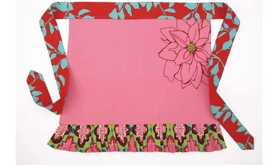 "Pink, sky blue and red floral half apron- perfect way to say ""thanks"" to your bridesmaids"