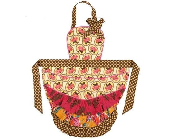 "Chocolate brown and cream polka dots with yellow gold and red print apron- perfect way to say ""thank"