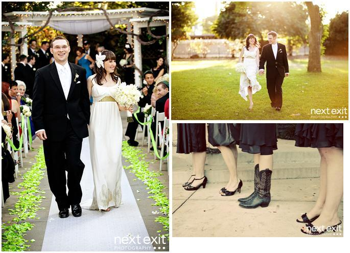 Calamigos-equestrian-bride-groom-mr.-and-mrs.lime-green-flowers-line-aisle-black-bridesmaid-dresses-and-shoes.full