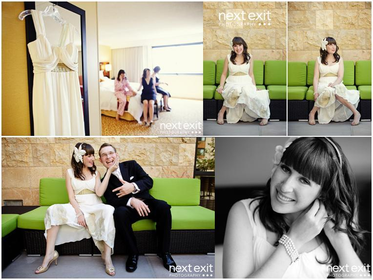 Ivory wedding dress hangs with bridesmaids in background, bride and groom on lime green couch