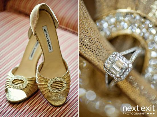 Closeup of gold and diamond Manolo Blahnik bridal shoes and diamond, pave and platinum engagement ri