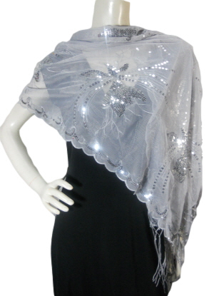 Elegant Gray Shawl with Silver Sequin