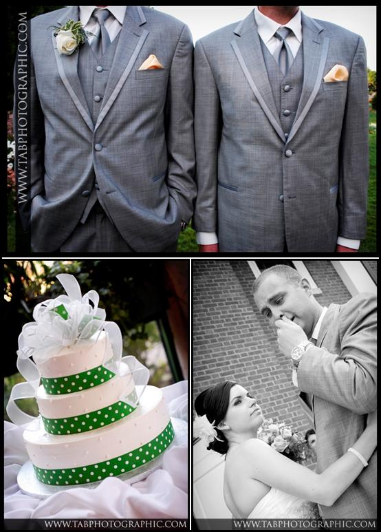 Two-weddings-grey-suit-peach-pocket-square-white-green-polka-dot-cake-with-ribbon.original