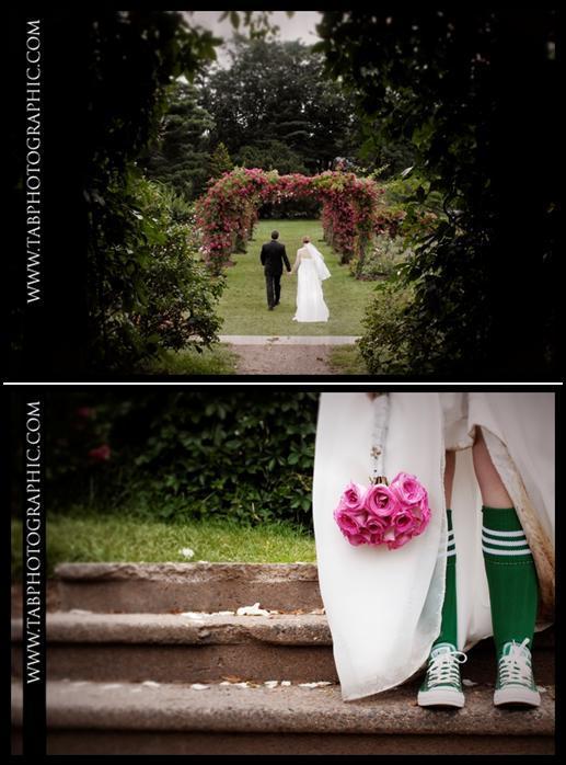 Two-weddings-bride-groom-walk-hand-in-hand-through-fuschia-rose--arch-sporty-bride-green-socks-pink-bridal-bouquet.full