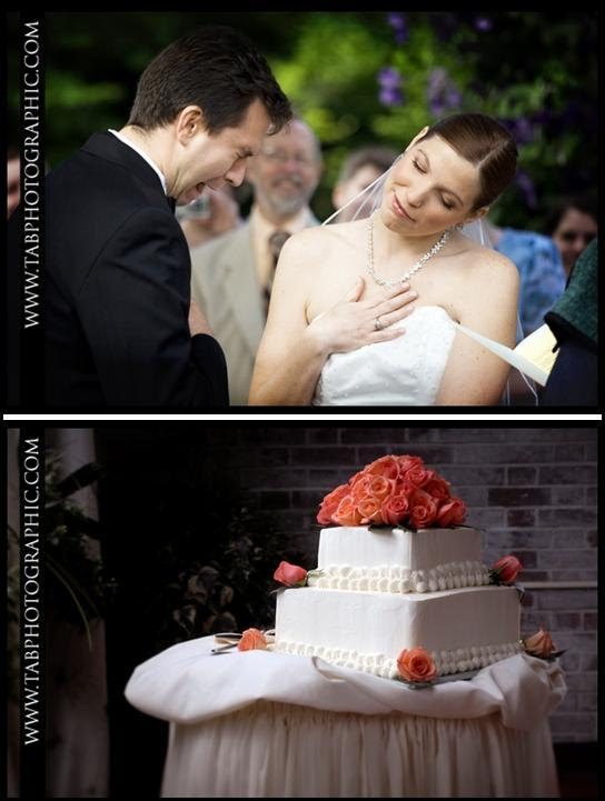 "Groom gets emotional while saying ""I Do""; classic white wedding cake with coral flowers"