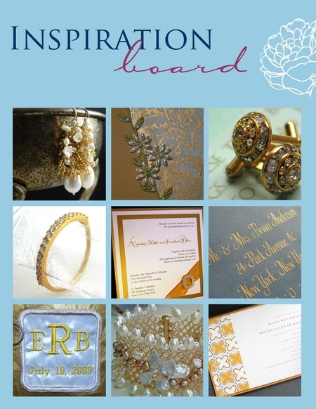 Golden handmade wedding accessories, invitations, jewelry and more!