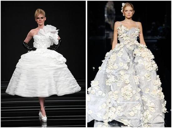 These white wedding dresses, with very full skirts and flower or rosebud details, are sure to make a