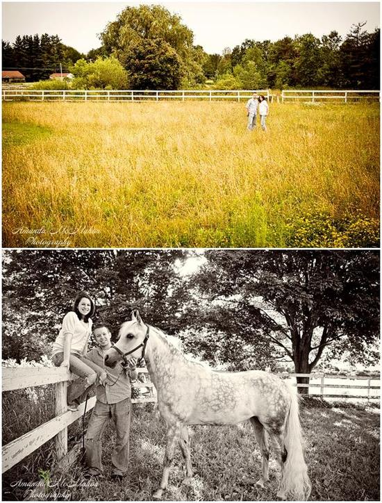Bride and groom in background of green field; pose with white horse, bride sits on white picket fenc