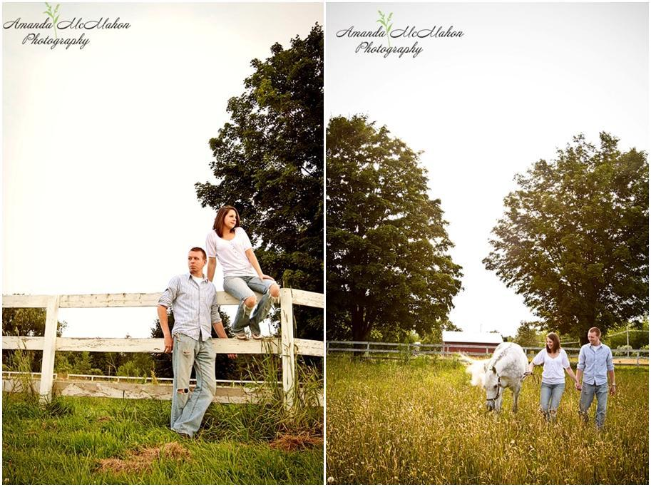 Outdoor-engagement-photo-shoot-farm-with-white-horse-stallion-casual-in-love-bride-groom-sit-on-fence.full