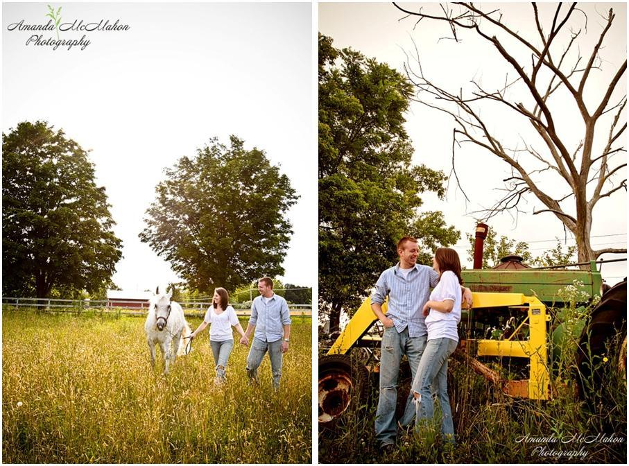 Outdoor-engagement-photo-shoot-farm-with-white-horse-stallion-casual-in-love-jeans-green-grass-fence-barn-john-deere-tractor.full
