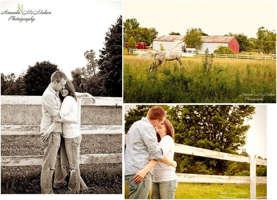Outdoor-engagement-photo-shoot-farm-with-white-horse-stallion-casual-in-love.full