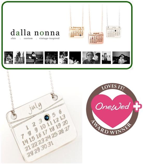 OneWed loves Dalla Nonna's calendar necklaces to help remember those special days in your life