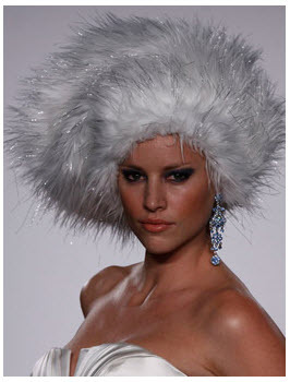 Priscilla of Boston Platinum: Bridal faux fur hat