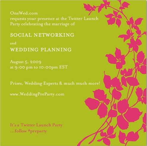 photo of Join Us Aug 5 for  WeddingPreParty.com Twitter Launch Party!