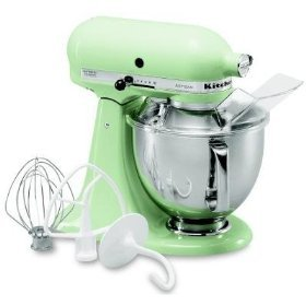 Adorable pistachio green colored stand-alone kitchen-aid mixer available at amazon.com