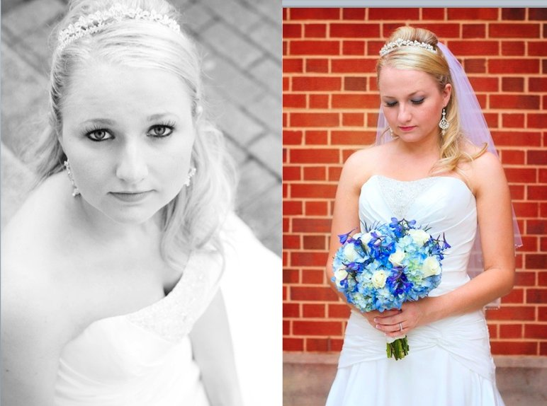 Bride in strapless white wedding dress with tiara and veil holding blue flowers