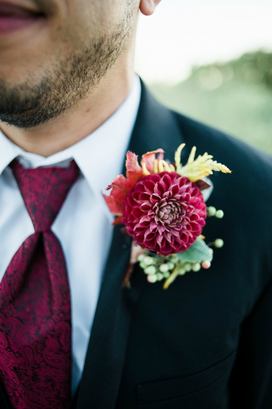 Red Dahlia Boutonniere