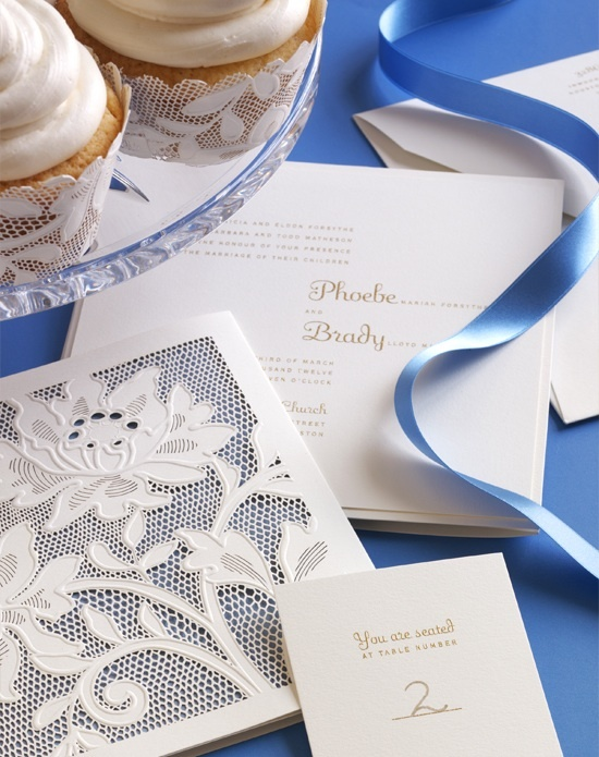 Blue and white wedding invitation designed by Vera Wang.