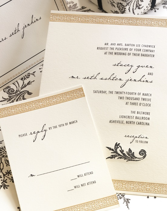 Vera Wang wedding invitation in brown and gold with black writing.