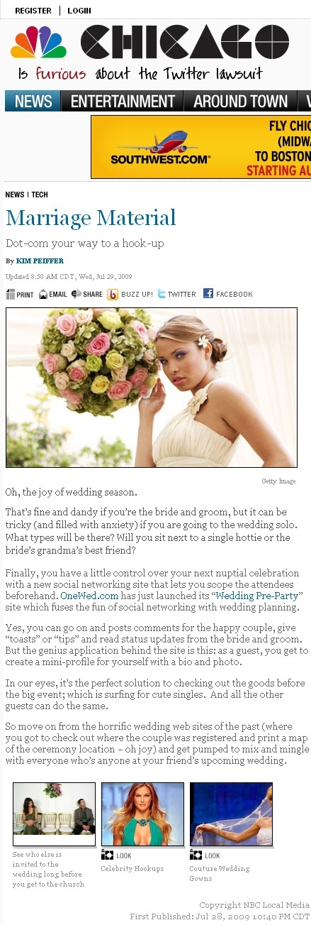 NBC Chicago thinks OneWed's Wedding Pre-Party is the perfect solution to other wedding websites out