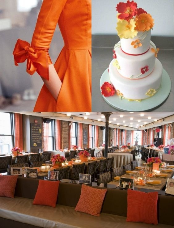 An orange dress, a white cake with orange and yellow flowers, and orange seating all look like summe