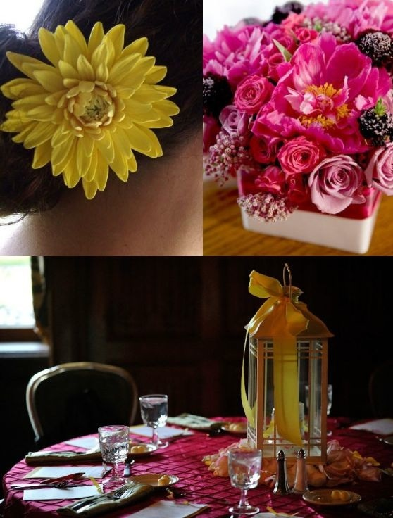 A Yellow Flower In The Hair Pink Flowers On The Table And