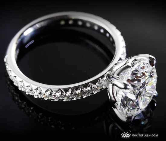 WhiteFlash engagement ring, 'Harmony' Diamond, Fishtail Pave Setting