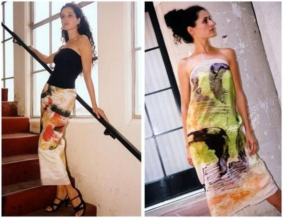 Colorful hand-painted and dyed silk dress and skirt, perfect for your honeymoon