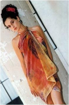 Dyed silk dress in burnt orange, gold, black, perfect for your honeymoon