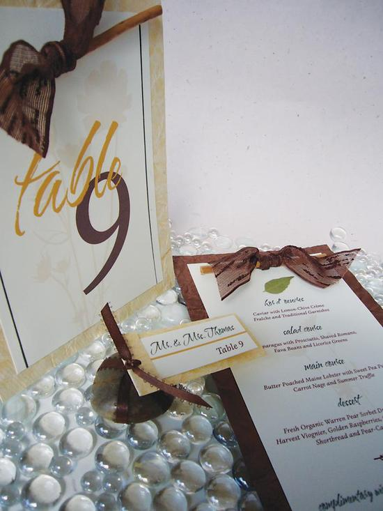 Stunning chocolate brown, gold and white wedding stationery with leaf detail- table cards and escort