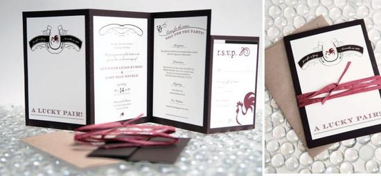 Lucky pair wedding stationery in black, white, and red