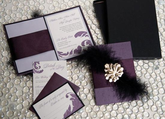 Hardbound eggplant, black, white wedding stationery with golf leaf embellishment & feathers