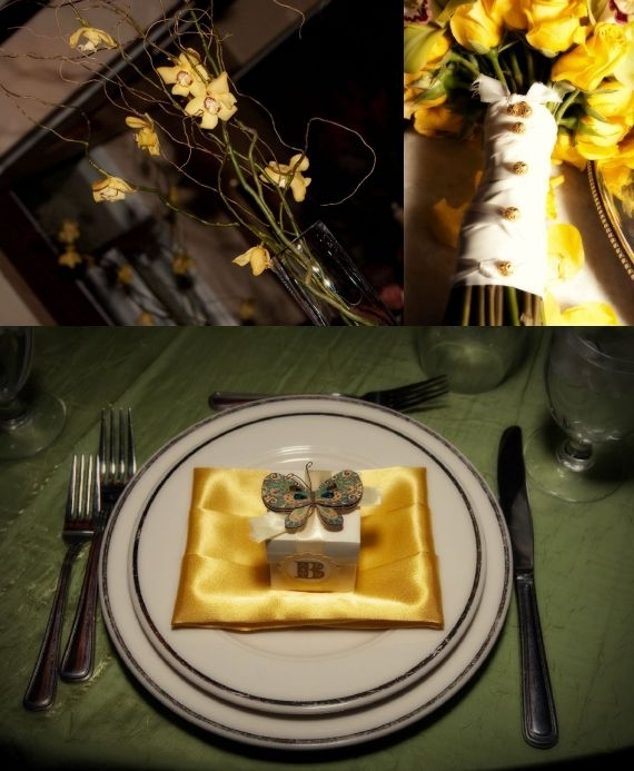 Yellow and sage wedding- beautiful place setting, yellow bridal bouquet, high floral centerpiece