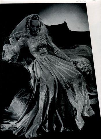 1920s-brides-magazine-satin-wedding-dress-gown-ornate-full-skirt-wedding-dress-netted-veil.full