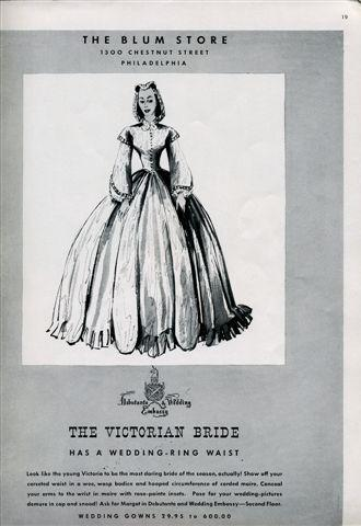 Bridal fashion in 1939 Brides Magazine- corset wedding dress gives bride tiny waist, full skirt