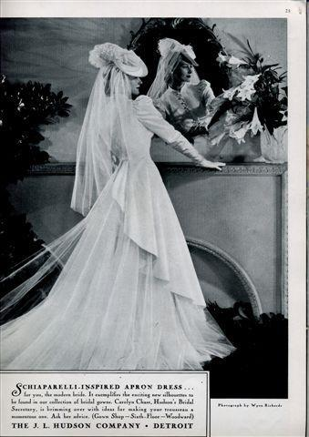 Bridal fashion in 1939 Brides Magazine- wedding dress inspired by Gone With The Wind