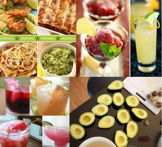 Delicious and colorful appetizers, food, and cocktails for your margarita party