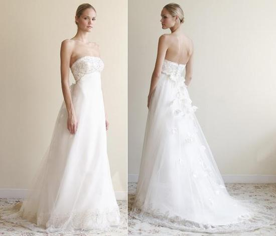Simple, classic white strapless wedding dress with understated tulle skirt